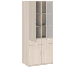 20.24 Шкаф 2-х дверный со стеклом (с ящиком) 842х1790х385 серия Соло
