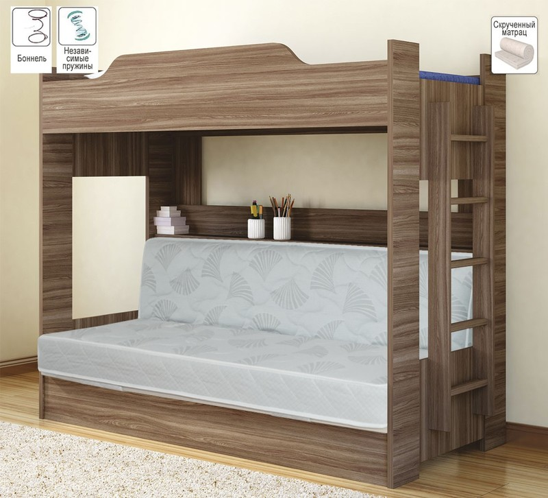 Двухъярусная кровать с диваном с блоком независимых пружин