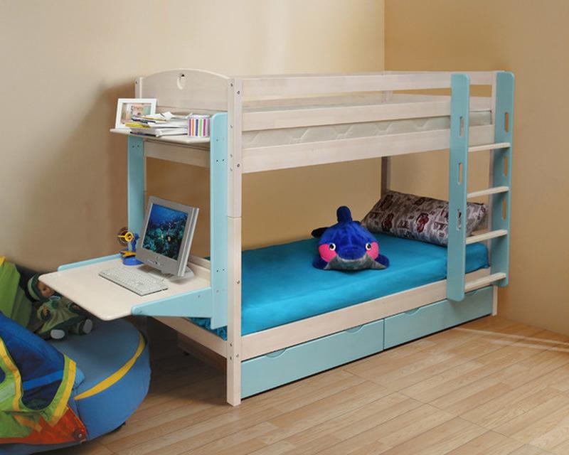 Кровать детская двухъярусная массив с ящиками НОВАЯ (трансформер)