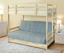 Двухъярусная кровать массив с диван  кроватью