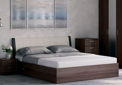 Кровать Гнутая спинка мягкая с ящиками 1400