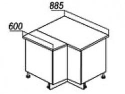СН-79 левый Стол угловой 885/890х600х840 ( массив ), Боровичи мебель